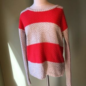 A.N.A. Petite Red and Cream Wide Striped Sweater
